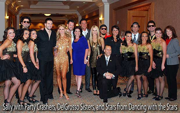 Sally with Party Crashers, DelGrosso Sisters, Maksim Chmerkovskiy, Kym Johnson, and Dmitry Chaplin