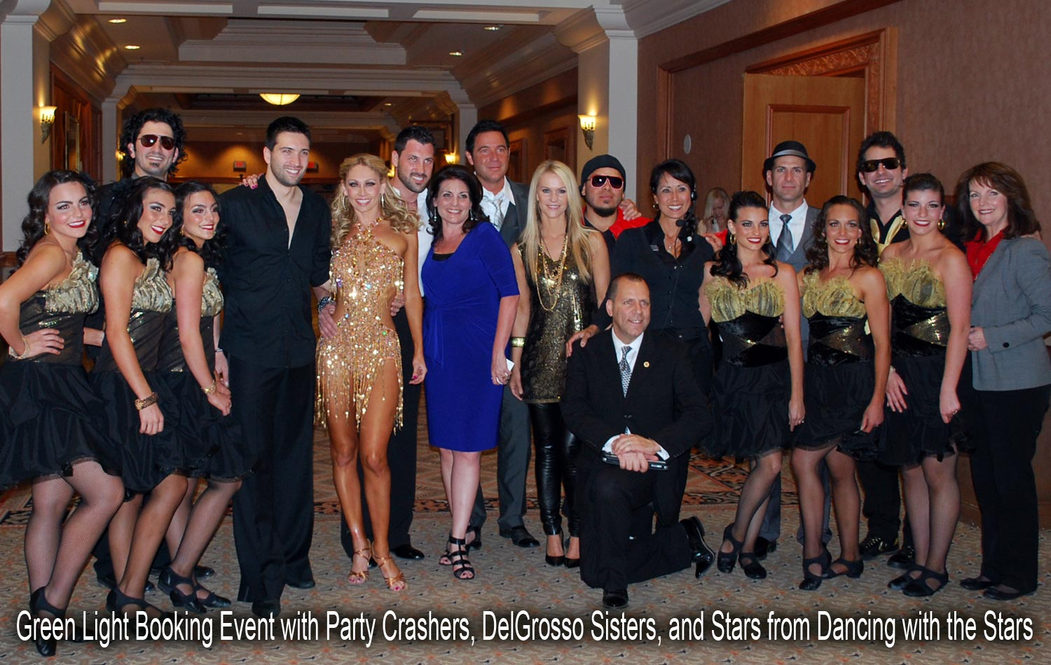Sally from Green Light Booking with Party Crashers, DelGrosso Sisters, and Professional Dancers from Dancing with the Stars' Maksim Chmerkovskiy, Kym Johnson, and Dmitry Chaplin